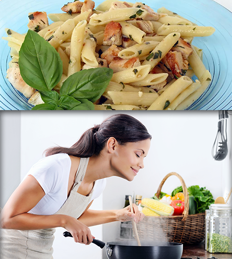 Chicken Penne and a Woman Cooking